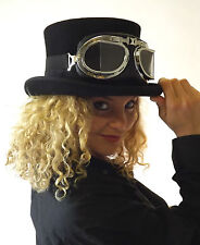 New Wool Felt Black Top Hat Steampunk Fashion Goggles Glasses Clear Black Red