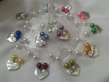 HANDMADE WINE GLASS CHARMS FOR WEDDING TOP TABLE BRIDE,GROOM,ETC ALL COLOURS