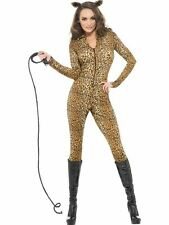 Sexy Leopard Catsuit Ladies Animal Print Fancy Dress Cat Costume Outfit UK 6-18