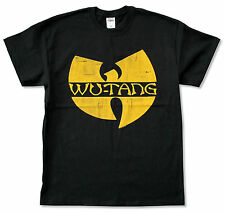 "WU-TANG CLAN ""YELLOW DISTRESSED"" BLACK T-SHIRT NEW OFFICIAL ADULT"