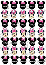 35 PINK Minnie Mouse PRE-CUT Edible Wafer Paper Cupcake TOPPERS PERSONALISED
