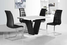 New Stunning Amira White High Gloss Dining Table + Dining Chairs