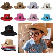 New Baby Kids Children Boys Girls Star Straw Western Cowboy Summer Sun Hat Cap