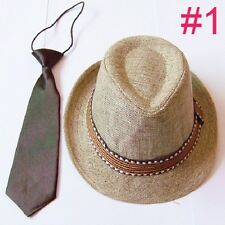 Kids, Children's and Toddler Boys & Girls Fedora Hat with Matching Tie
