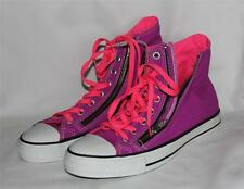 Chuck Taylor Neon Pink & Purple Converse Canvas Double Zipper Shoes HTF NWOT