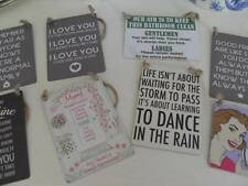 MINI METAL BE HAPPY DANCE I LOVE YOU HOME WITHOUT CAT DOG CHIC N SHABBY SIGNS