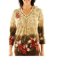 Alfred Dunner Birds of Paradise Tropical Skin Border Top women's size S PM L NEW