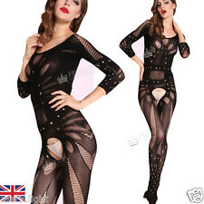 S12-Sleeved Rhombus & Floral Crotchless Bodysuit Bodystocking thong,Plus Size