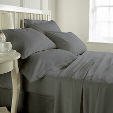 USA  600-800-1000ThreadCount GRAY BEDDING SET 100% COTTON SOLID & STRIPE 02