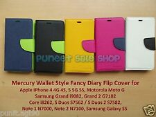 Mercury Diary Wallet Style Flip Flap Cover Case for Samsung Apple with 3 Pockets