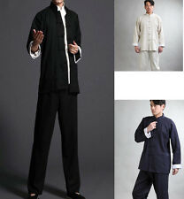 Black Blue Beige Men's Linen Kung Fu Tai Chi Suit Jacket + Pajamas Sz: M - XXXL