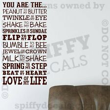 YOU ARE THE PEANUT TO MY BUTTER LOVE LIFE Quote Vinyl Wall Decal Decor Sticker