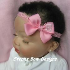 PINK MONOGRAMMED PERSONALIZED DAINTY HAIR BOW MONOGRAM HEADBAND A-Z LETTERS