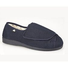 Mens Womens Ladies Extra Wide EEE Fit Washable Comfy Velcro Full Slippers Navy