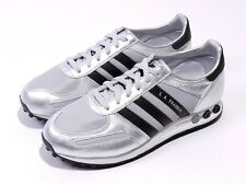 Mens Shoes Adidas La Trainers Rrp £65 Originals Silver Black Leather Uk 7.5-10.5