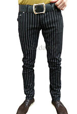 Skinny Jeans For Men Drainpipes Trousers Mod Pin Stripe Black Hipsters