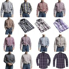 Men 100% Cotton Slim Fitted Button Down Casual Plaids & Checks Long Sleeve Shirt