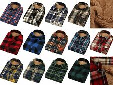 Men Slim Fitted Button Down Casual Plaids Long Sleeve Warm Shirt