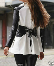NWT bebe black white corset lace up peplum top dress trench jacket XS S M L sexy