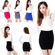 Sexy Women Lady A Line Bodycon Stretch Ribbed Mini Skirt Slim Tight Shorts
