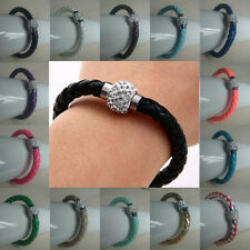 Leather Wrap Wristband Cuff Punk Magnetic Rhinestone Buckle Bracelet Bangle