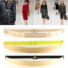 Women Elastic Metal Waist Belt Metallic Bling Gold Plate slim Simple Band SWTG