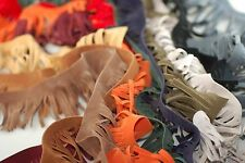 Neotrims Faux Suede Leather Tassel Fringe Trimming, 12 Colours, Boho Chic Crafts