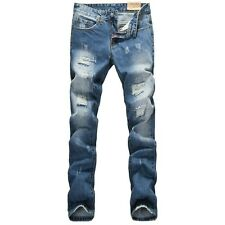 Men Italy Fashion Distressed Jeans  0919 Size 28-36 Destroyed Ripped Biker Pants
