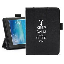 "Samsung Galaxy Tab 3 7.0 7"" Leather Cover Stand Keep Calm Cheer On Cheerleader"