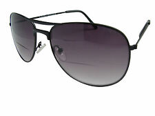 Bifocal Sunglasses Aviator Pilot Black Tinted Reading Glasses Sunreaders 401