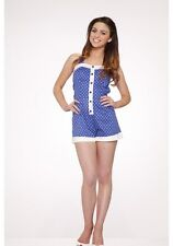H & R London Pinup BLUE WHITE POLKA DOTS ROMPER JUMP SUIT PLAYSUIT SHORTS 9322