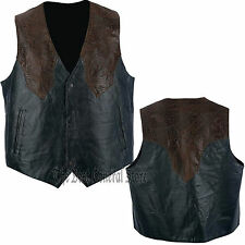 Mens Black & Brown Lined Leather Western Style Vest Southwestern