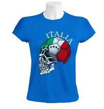 Italy Flag World Cup Skull Women T-Shirt Italia football national team soccer