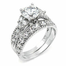 brilliant CZ 3.46ct wedding engagement 2pc sterling silver ring set size 4 - 11