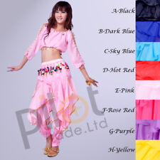 Belly Dance Costume set Long Sleeve Top & Tribal Gold Wavy Harem Pants 8 Colors