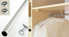 MANY SIZES OF WARDROBE RAIL 25MM & 18MM CUT TO SIZE HANGING CLOTHES CHROME TUBE