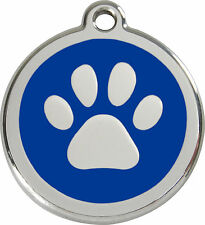 Red Dingo ID Tags Dog/Cat St. Steel PAWS Design FREE ENGRAVING Colours & Sizes
