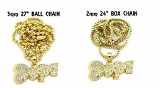 """Iced Out """"Dope"""" Pendant w/3mm27"""" Ball Chain & 2mm24"""" Box Chain Necklace FXMP16"""