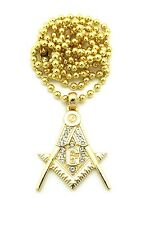 "Iced Out FREEMASON Masonic Pendant w/3mm 27"" Ball Chain Hip Hop Necklace FXMP26"
