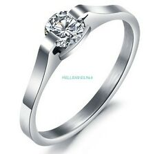 Fashion CZ Charm Crystal Stainless Steel Wedding Engagement Promise Ring R034