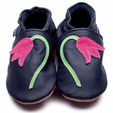 Inch Blue Girls Baby Luxury Leather Soft Sole Pram Shoes - Bluebell Navy & Pink