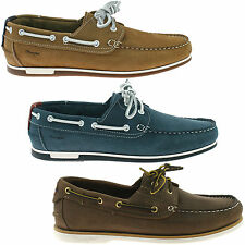 MENS WRANGLER LEATHER BOAT DECK SHOES SIZE 8 - 11 BROWN BLUE TAN FOWLER OCEAN
