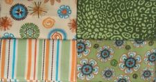 Fabric 4 Fat Quarters FQ Green Set Quilt Cotton Bundle Retro Floral Stripe NEW