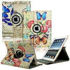 New Butterfly Pattern 360 Smart Magnetic PU Leather Case Cover For iPad 2 3 & 4