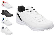 Mens & Boys White or Black Classic Trainers Size 6 to 13 UK - SPORTS WORK / 009