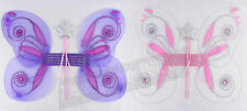 Girls Glittery Fairy Wings Sparkle Pink Purple Party Butterfly Wand Faries