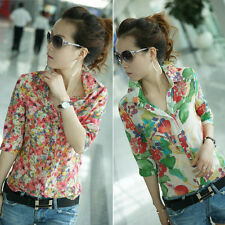 Vintage Women Chiffon Colorful Floral Print T Shirt Turn-down Collar Tops Blouse