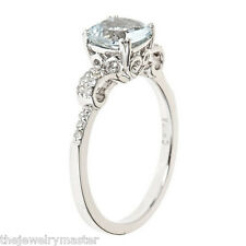 WOMENS 1.37 CARAT 7MM AQUAMARINE CUSHION CUT DIAMOND RING 925 STERLING SILVER