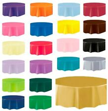 "ROUND PLASTIC TABLECLOTH 84"" DIAMETER TABLE COVER CLOTH 213cm"