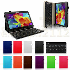 Folio Slim PU Leather Removable Bluetooth Keyboard Case Samsung Galaxy Tab4 10.1